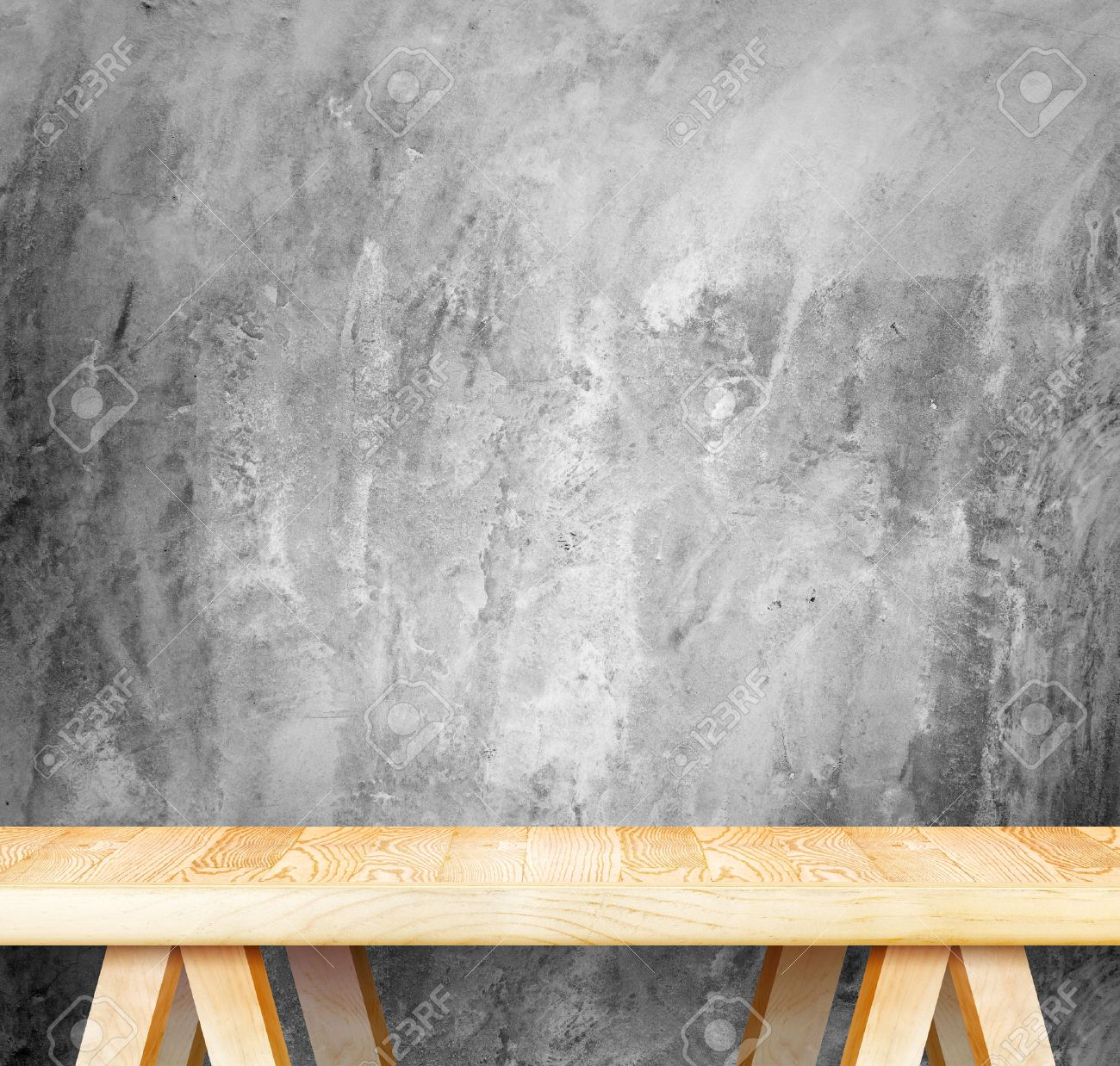 Plain wood table with hipster brick wall background stock photo - Empty Wood Modern Table And Grunge Concrete Wall In Background Mock Up Template For Display