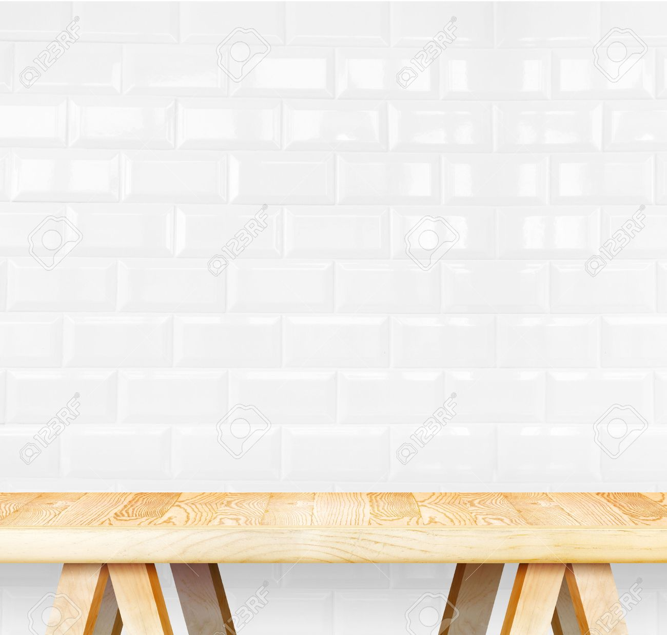 Empty Wood Modern Table And White Ceramic Tile Wall In Background