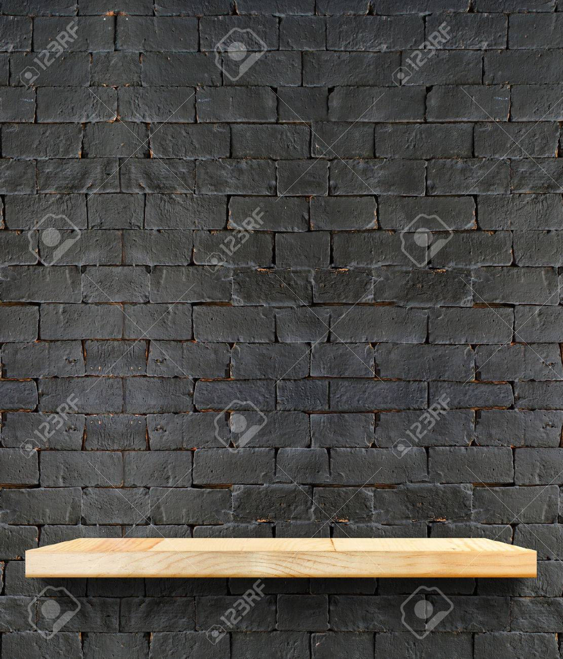 Plain wood table with hipster brick wall background stock photo - Wood Table Perspective Empty Wooden Shelf At Black Brick Wall Template Mock Up For