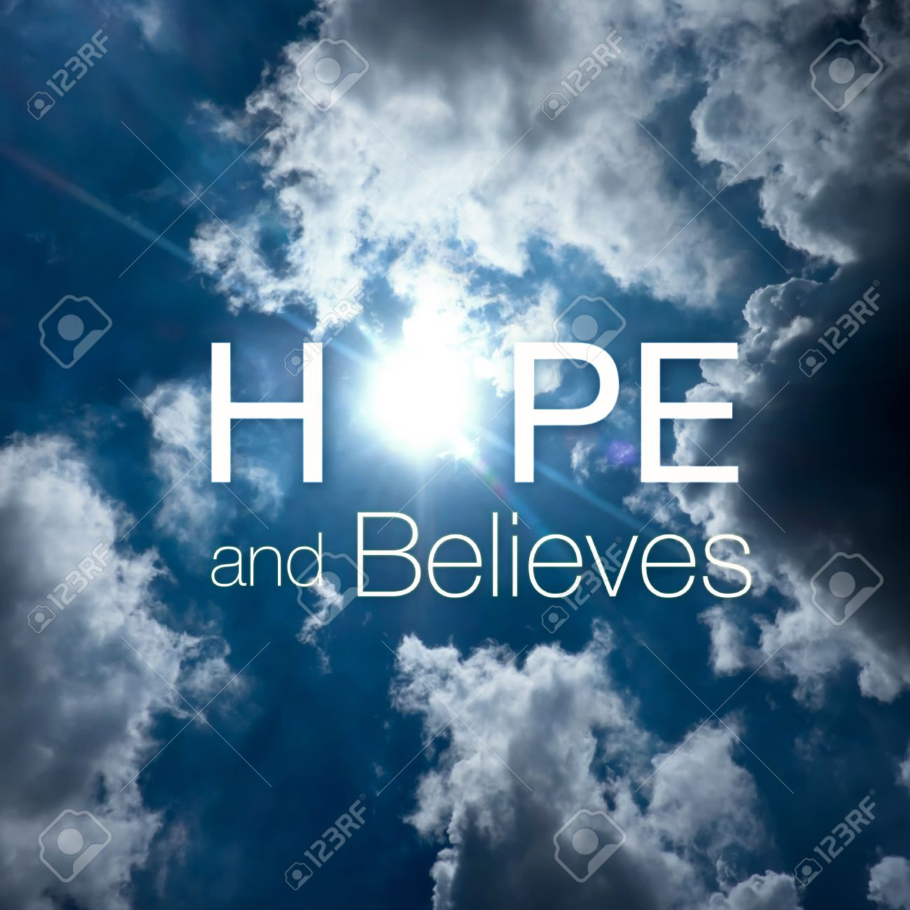 Inspiration Quote Hope And Believes On Sun Beam Through Stock