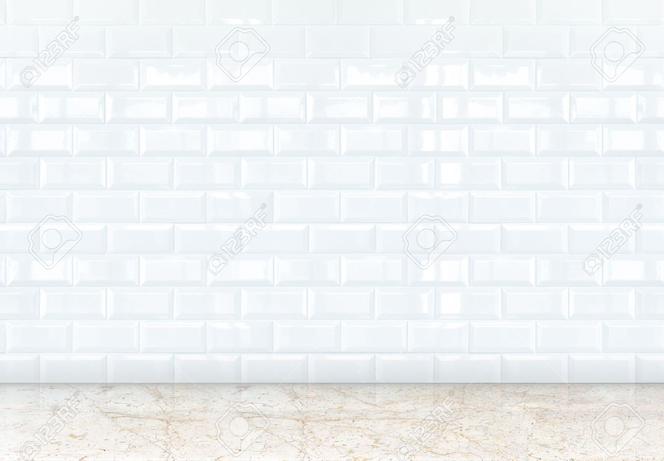 empty perspective room with white ceramic tiles wall and marble