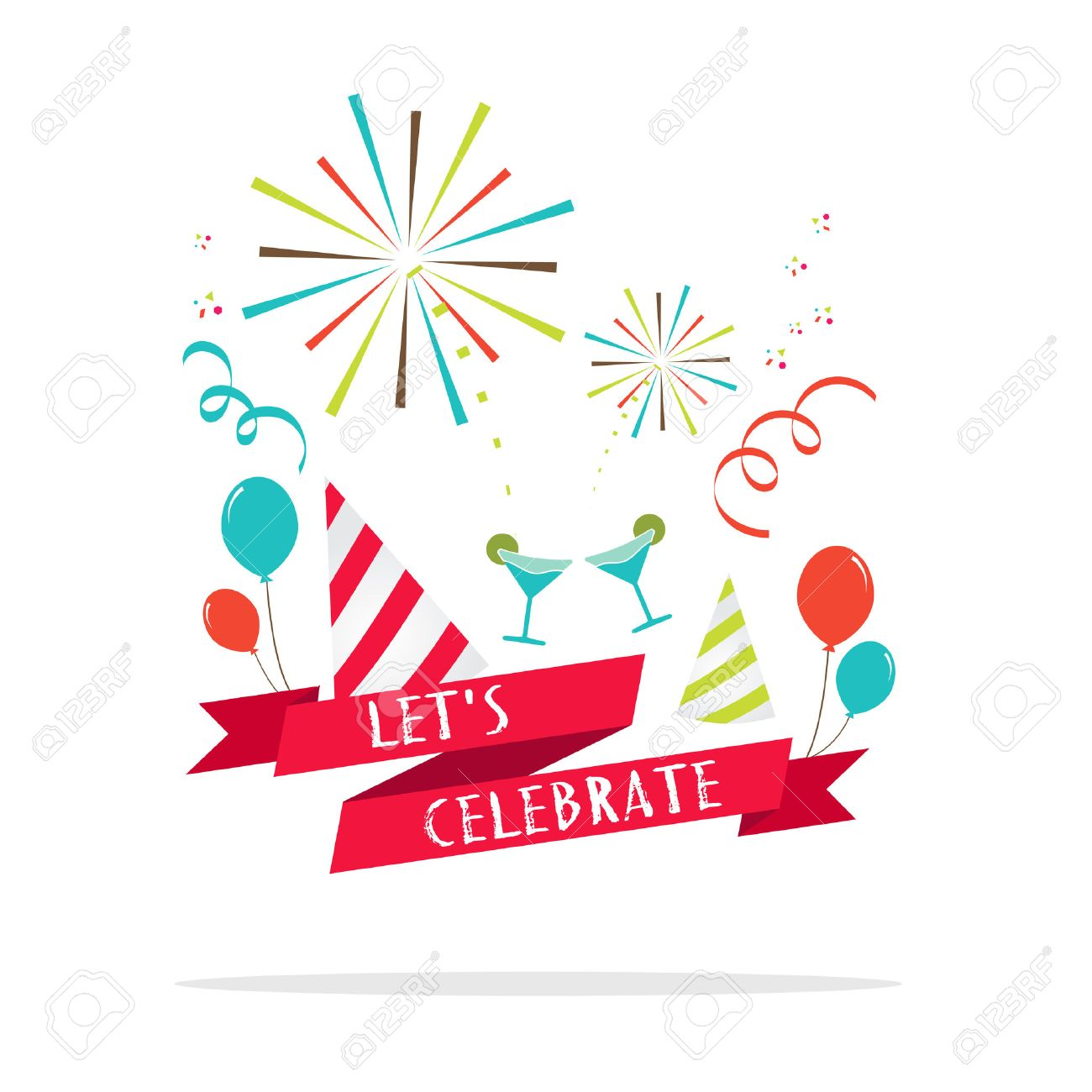 Vector : Let's celebrate banner with party icon. - 42997186