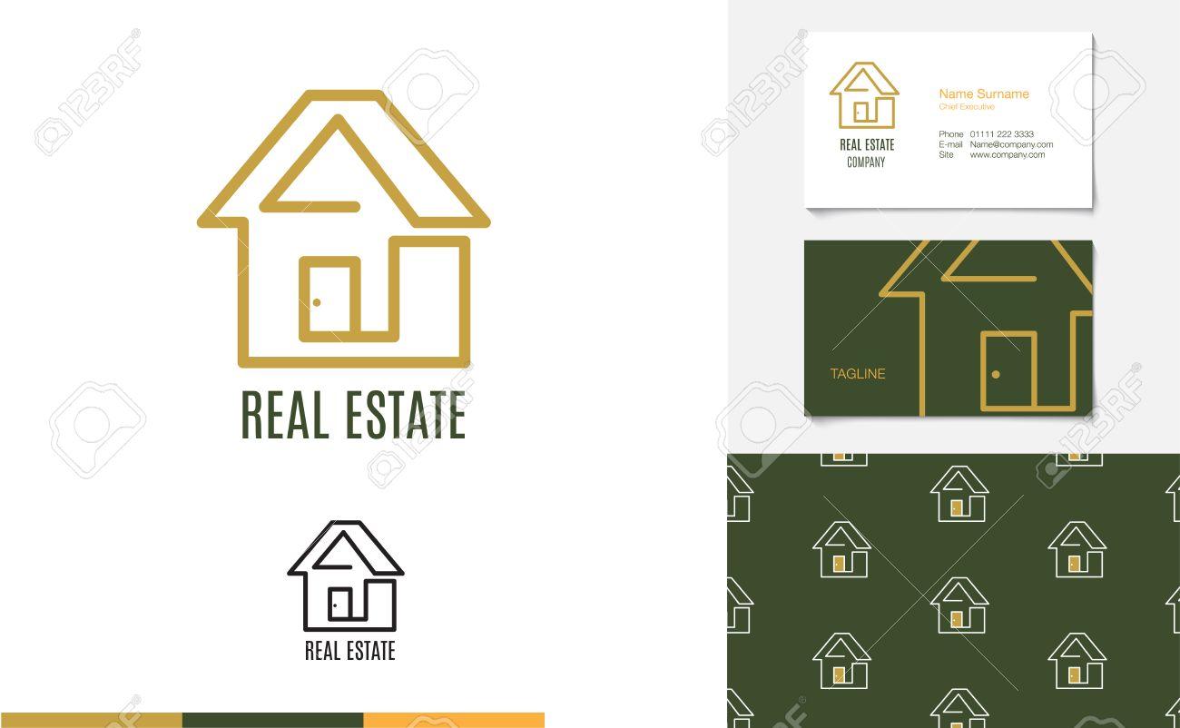 Vecteur Set De Maison Logo Carte Visite Et Le Motif Pour