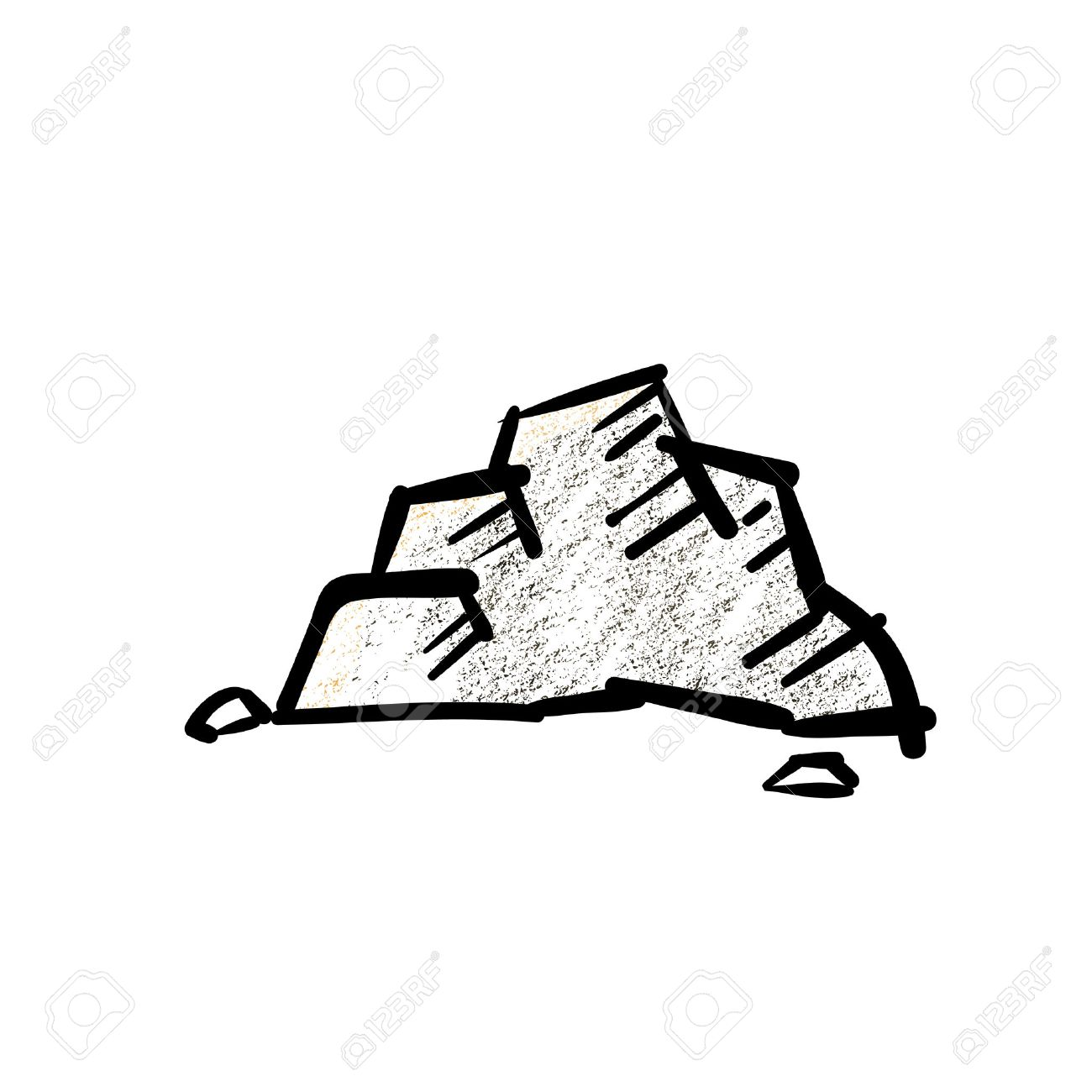 Vector Roca Con Sombreado Lápiz En El Estilo De Dibujos Animados
