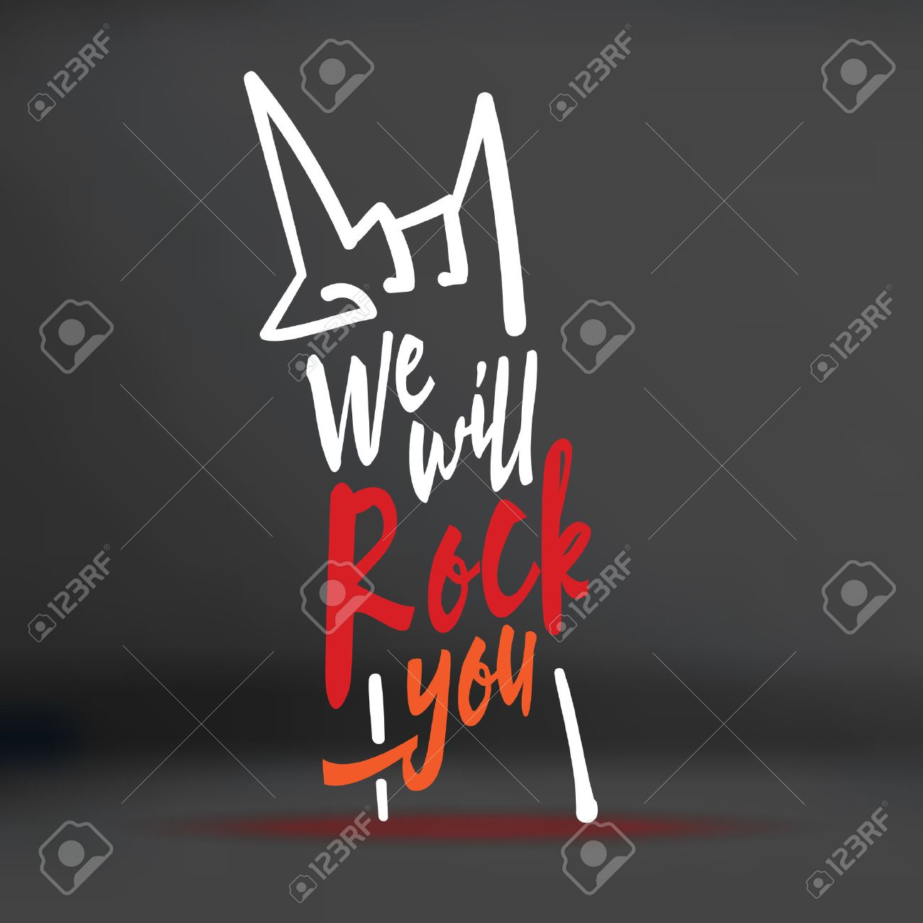 Vector : We will rock you word with hand doodle shape on black studio background,Music concept. - 40790407