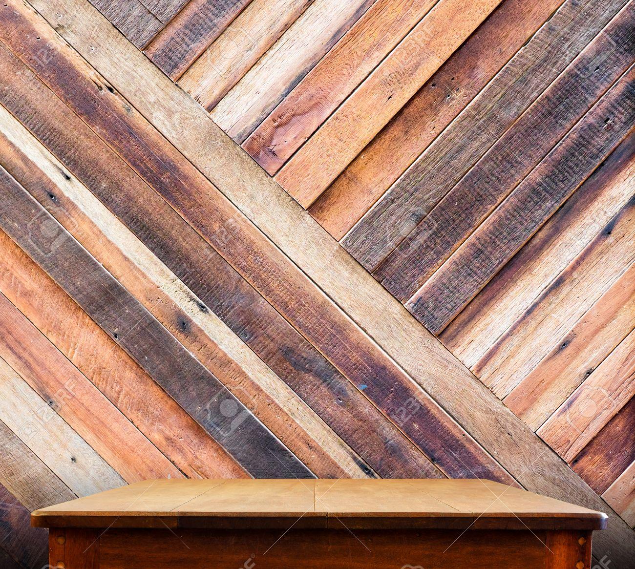 Wooden Tabletop At Tropical Diagonal Wood Walltemplate Mock Stock