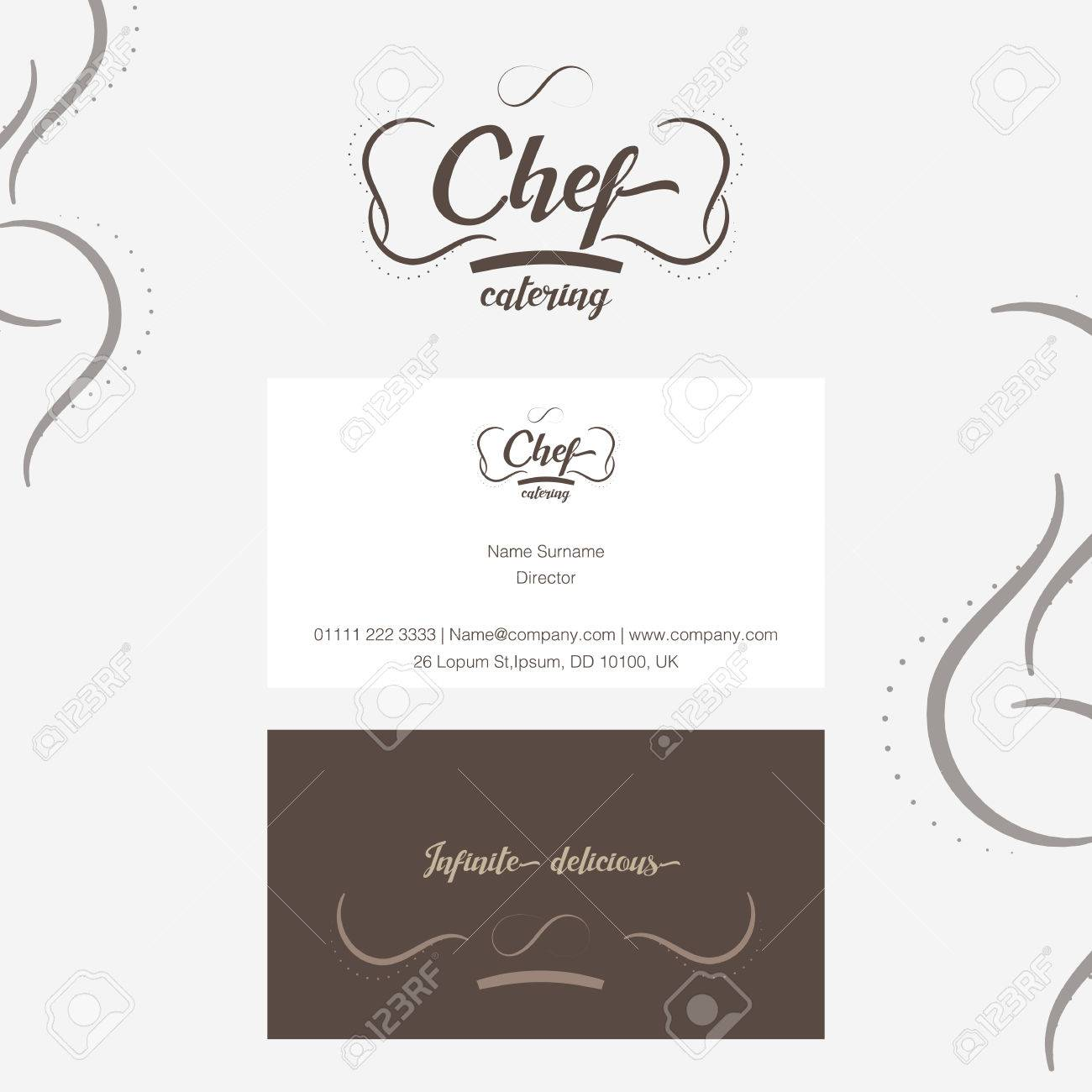 Vector chef catering logo with business card in line ornament vector vector chef catering logo with business card in line ornament style reheart Image collections