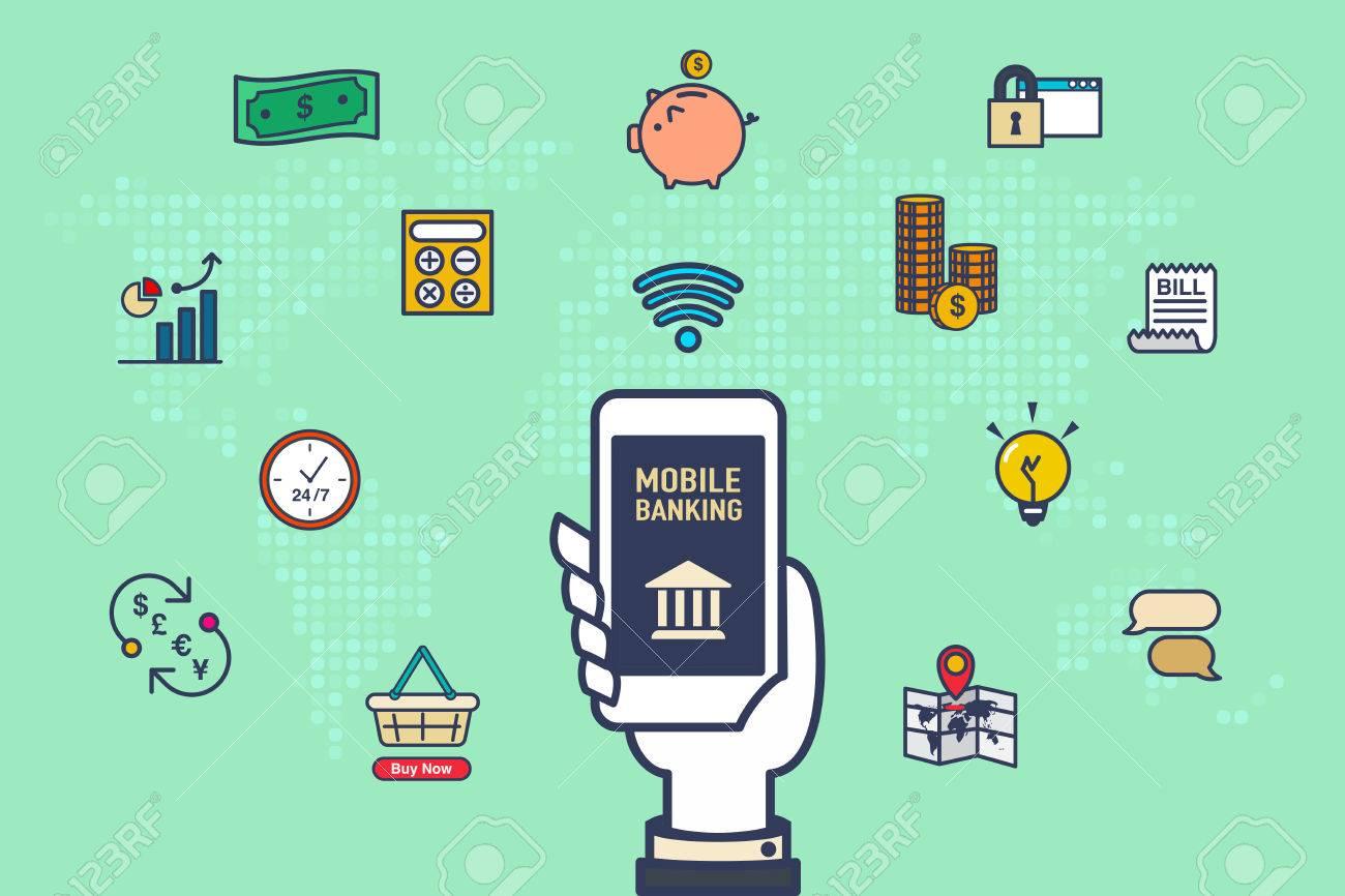 Vettore Stretta Della Mano Cellulare Con Icone Dellattività Bancaria Con Mappa Del Mondo Su Sfondo Verde Il Concetto Di Internet Banking