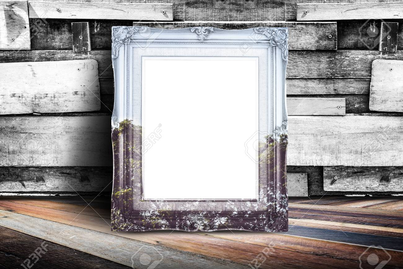 Blank Nature Overlay Vintage Photo Frame Leaning At Plank Wood