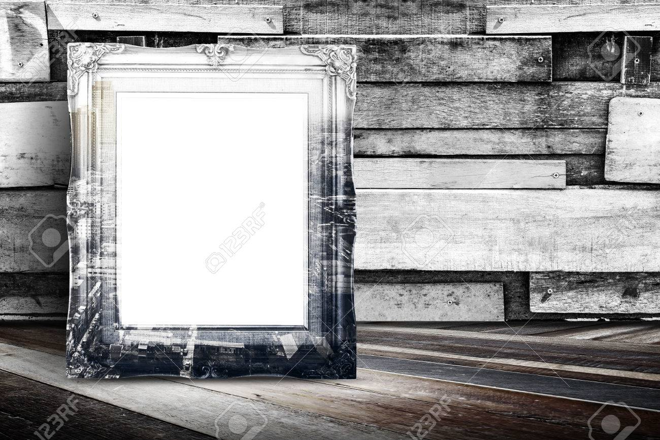 Blank City Overlay Vintage Photo Frame Leaning At Plank Wood