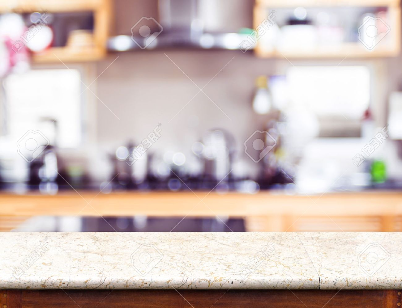 Kitchen Table Top Background empty marble table top and blurred kitchen bokeh light in