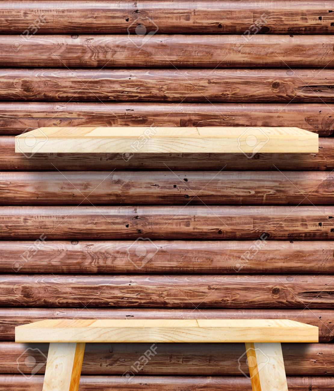 Empty Wooden Table Top At Red Brown Log Wood Wall,Template Mock Up For  Display