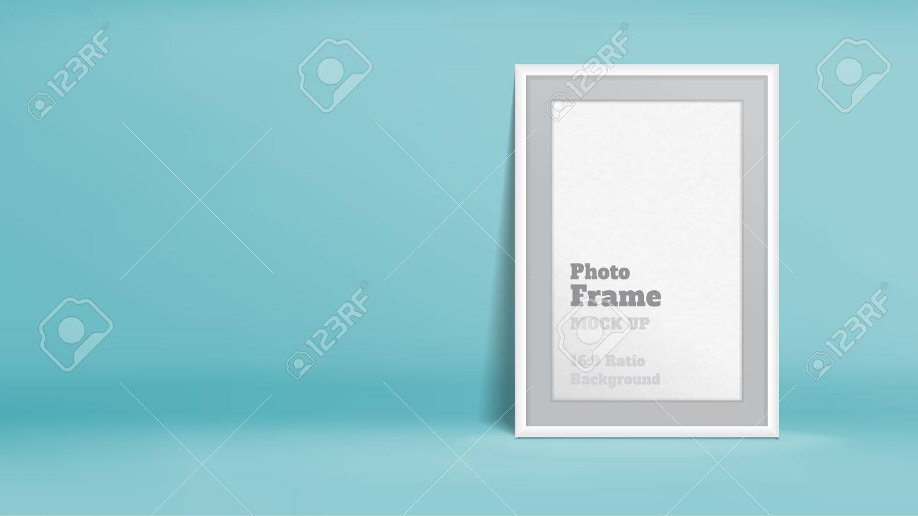 Vector, Blank cadre photo en pastel turquoise chambre studio, modèle  maquette pour l\'affichage ou le montage de votre contenu, d\'affaires  présentation ...