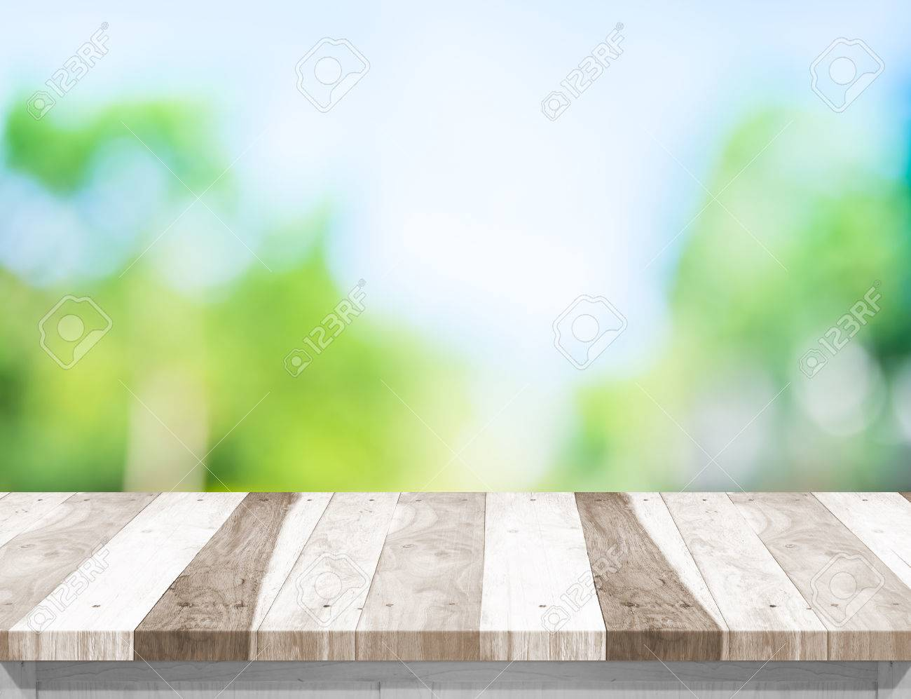 Empty White Wood Table Top With Sun And Blur Green Tree Bokeh Background,  Template Mock