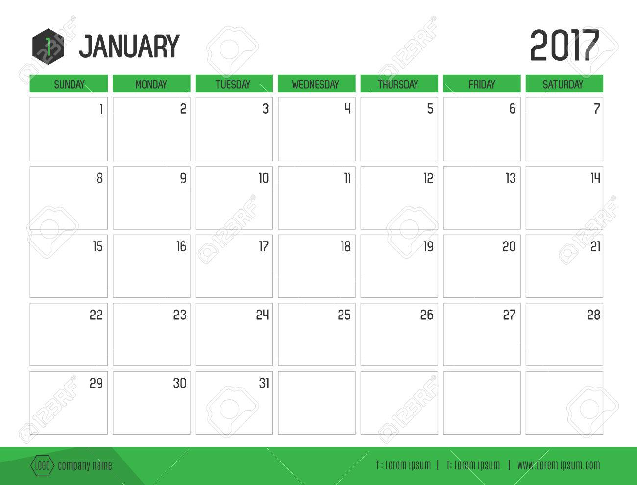 Vector Of Calendar 2017 New Year, January With Green Bar Color ...