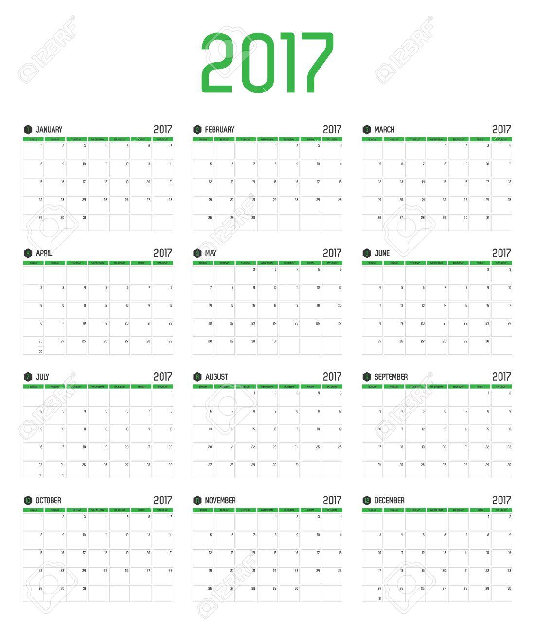 Vector Of Calendar 2017 New Year ,12 Month Calendar Set With ...
