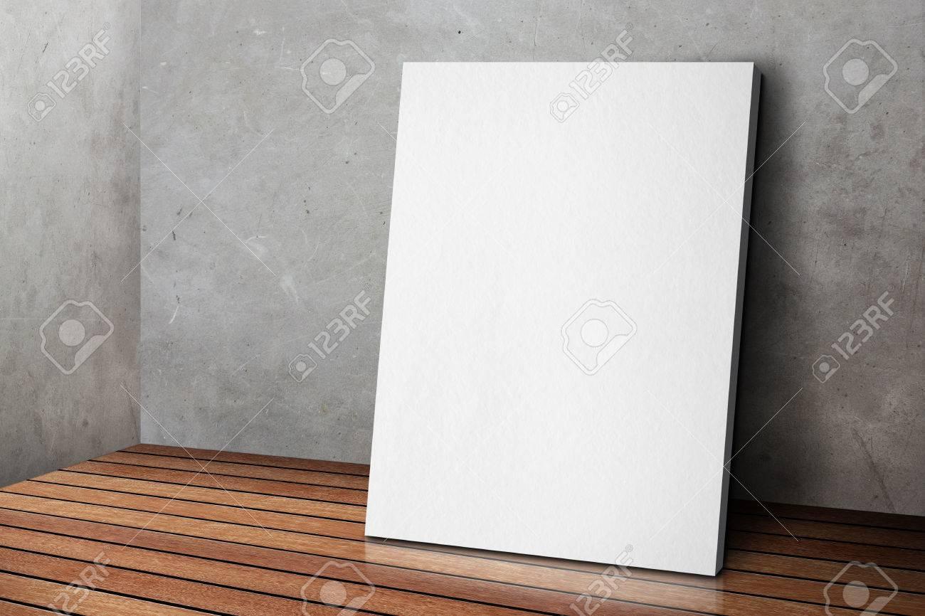Leere Weiße Plakatrahmen An Beton Grau Grunge Gelehnt Wand Und ...