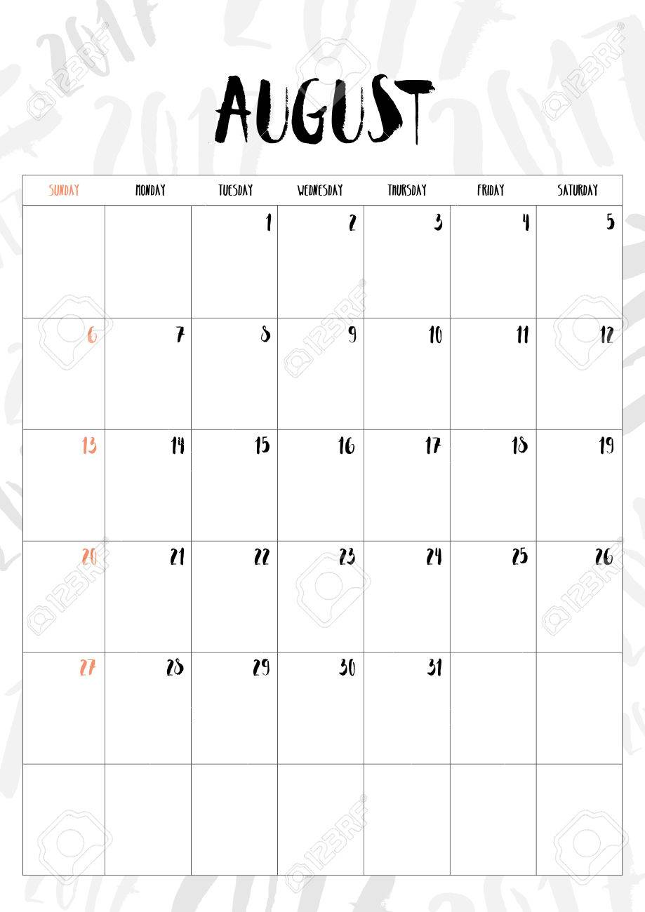 Calendario Fit.2017 Calendar August Month With Table On 2017 Pattern Background
