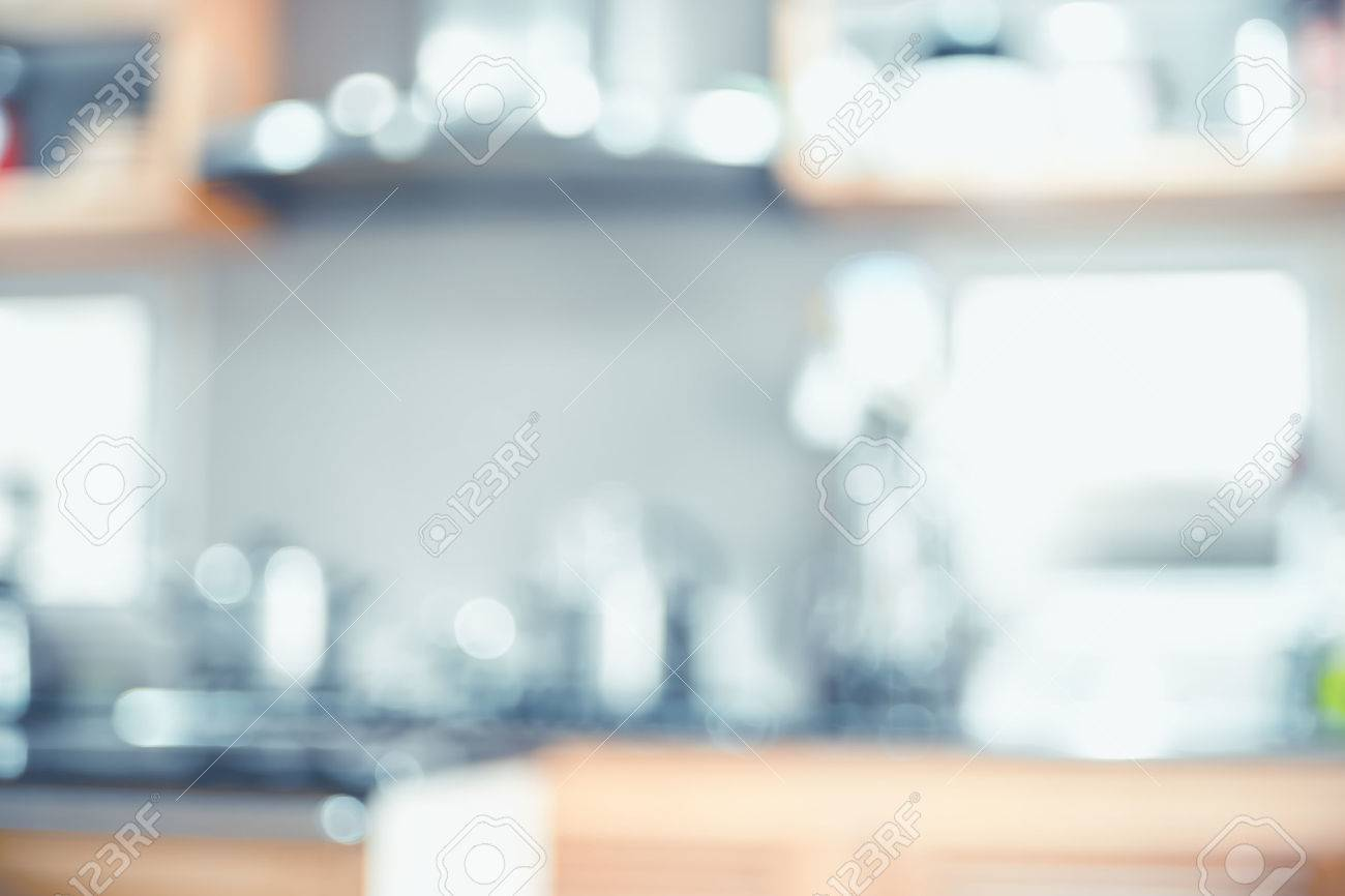 Blurred Background,Modern Kitchen With Bokeh Light, Vintage Filter ...