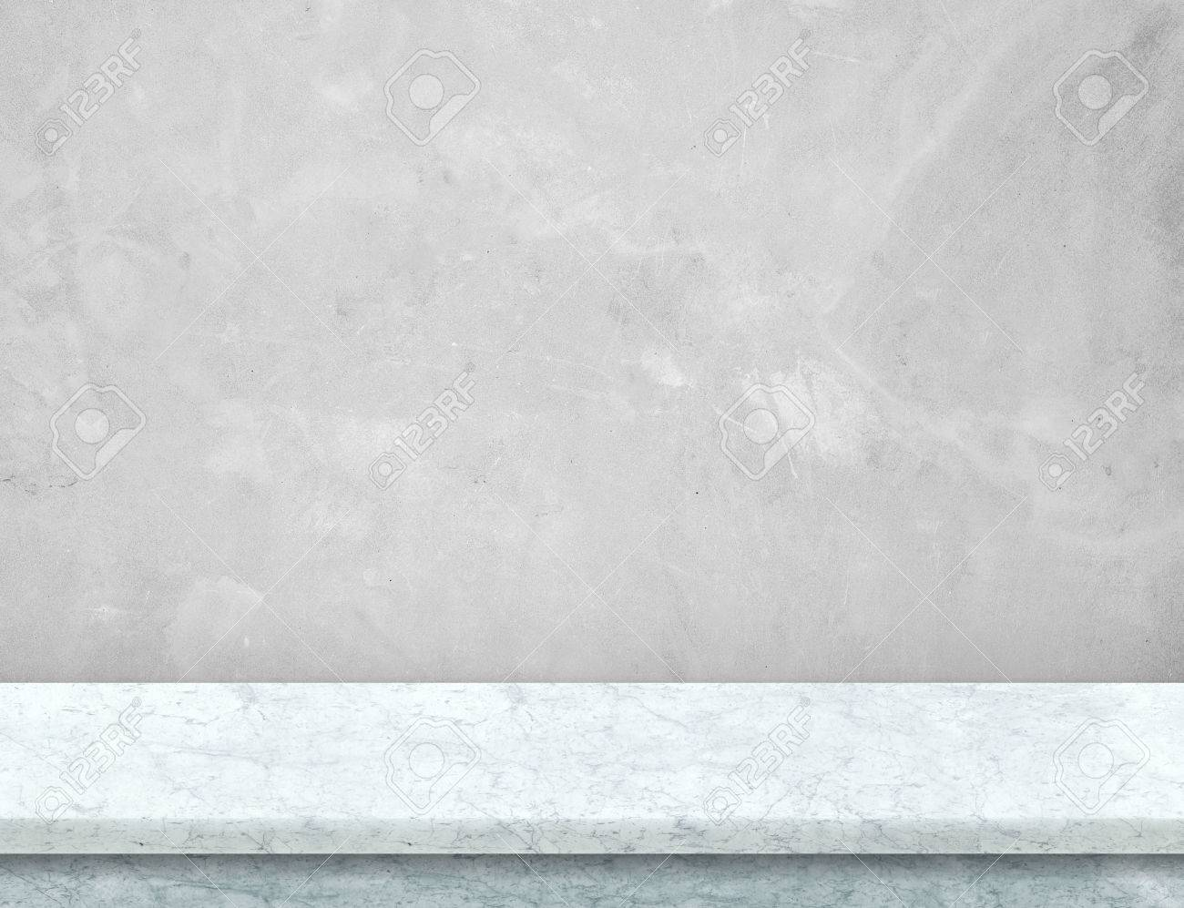 Empty whtie marble table top with grey concrete wall,Mock up for display or montage of product,use as background. - 70672259