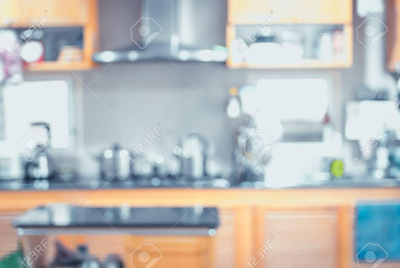 Blurred Background,Modern Kitchen With Bokeh Light, Vintage Filter ...
