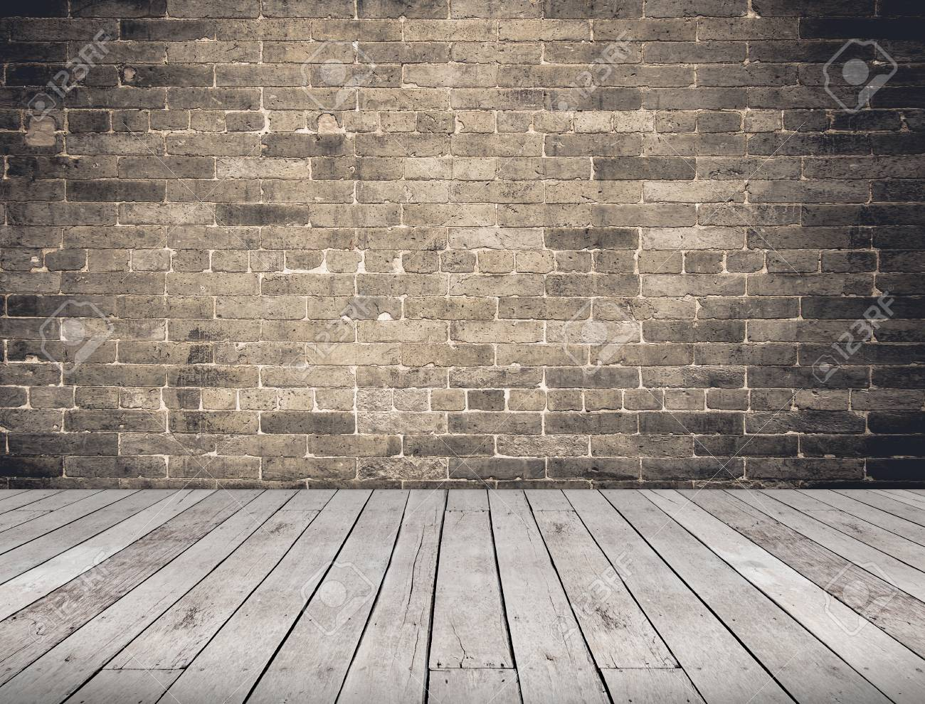Empty Room Perspective Grunge Brick Wall And Wood Plank Floor
