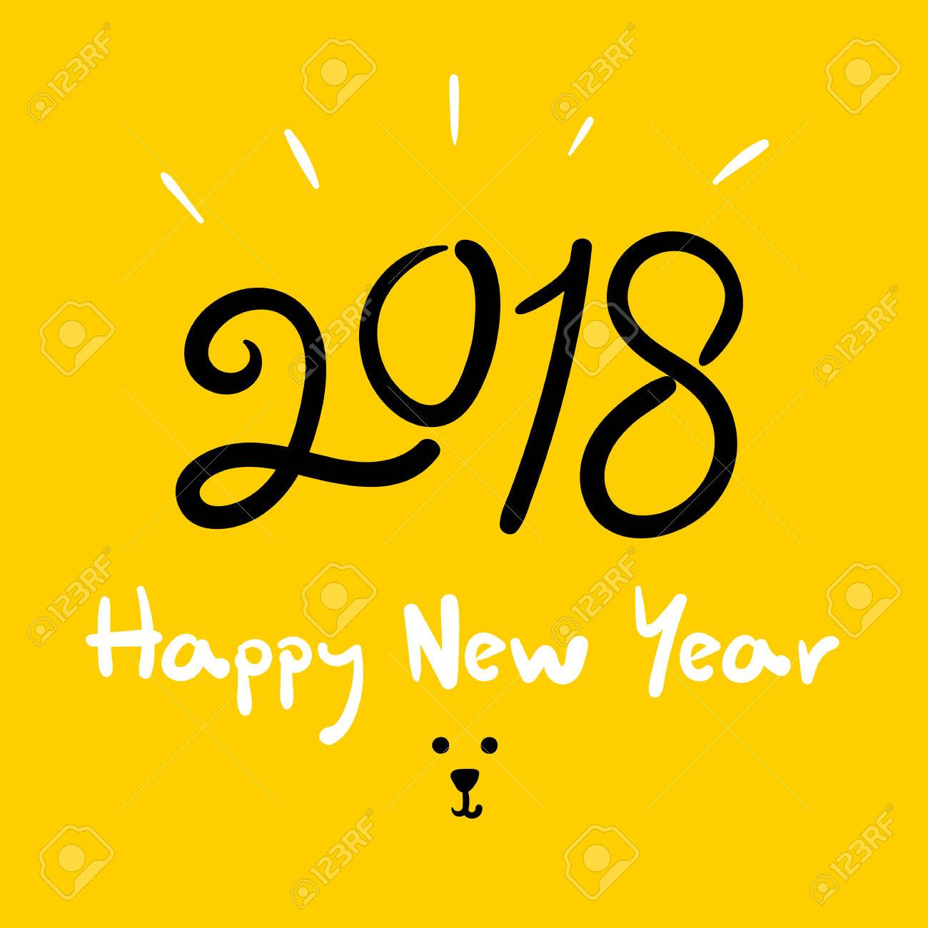 Happy New Year 2018 (Dog Year) Doodle Handwriting Brush On Bright Yellow  Background,