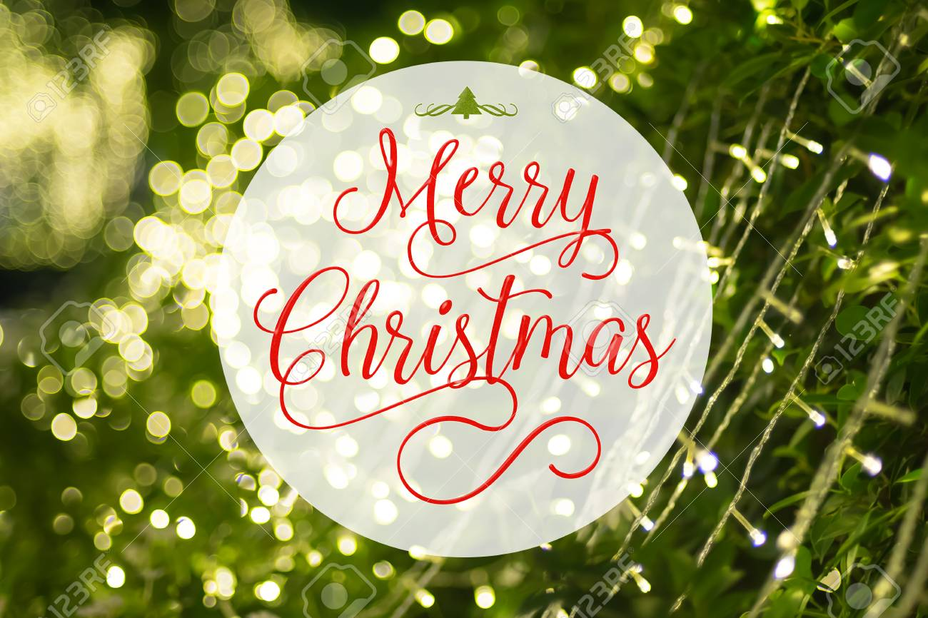 Merry Christmas Word And Xmas Tree Icon On At Blurred Background Of Green Decoration With