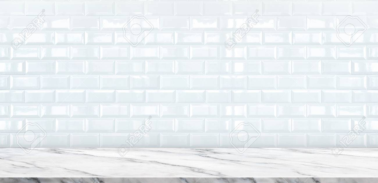 white marble table top. Empty White Marble Table Top With Ceramic Tile Wall Background,Mock Up Banner Ads C