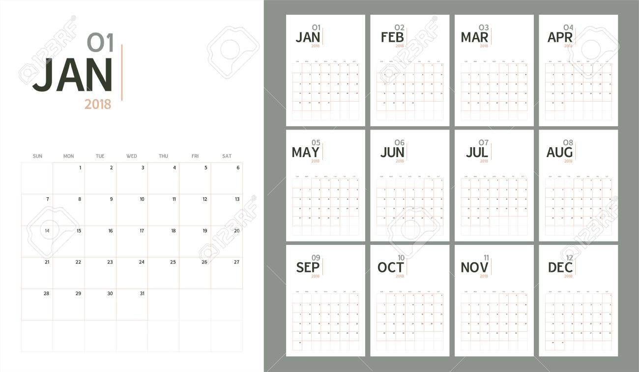 a vector of 2018 new year calendar in minimal table simple style and pastel organic tone