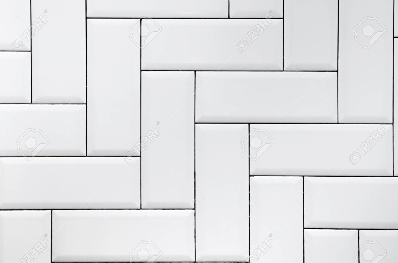 White Ceramic Brick Tile Wall Modern Abstract Texture Background