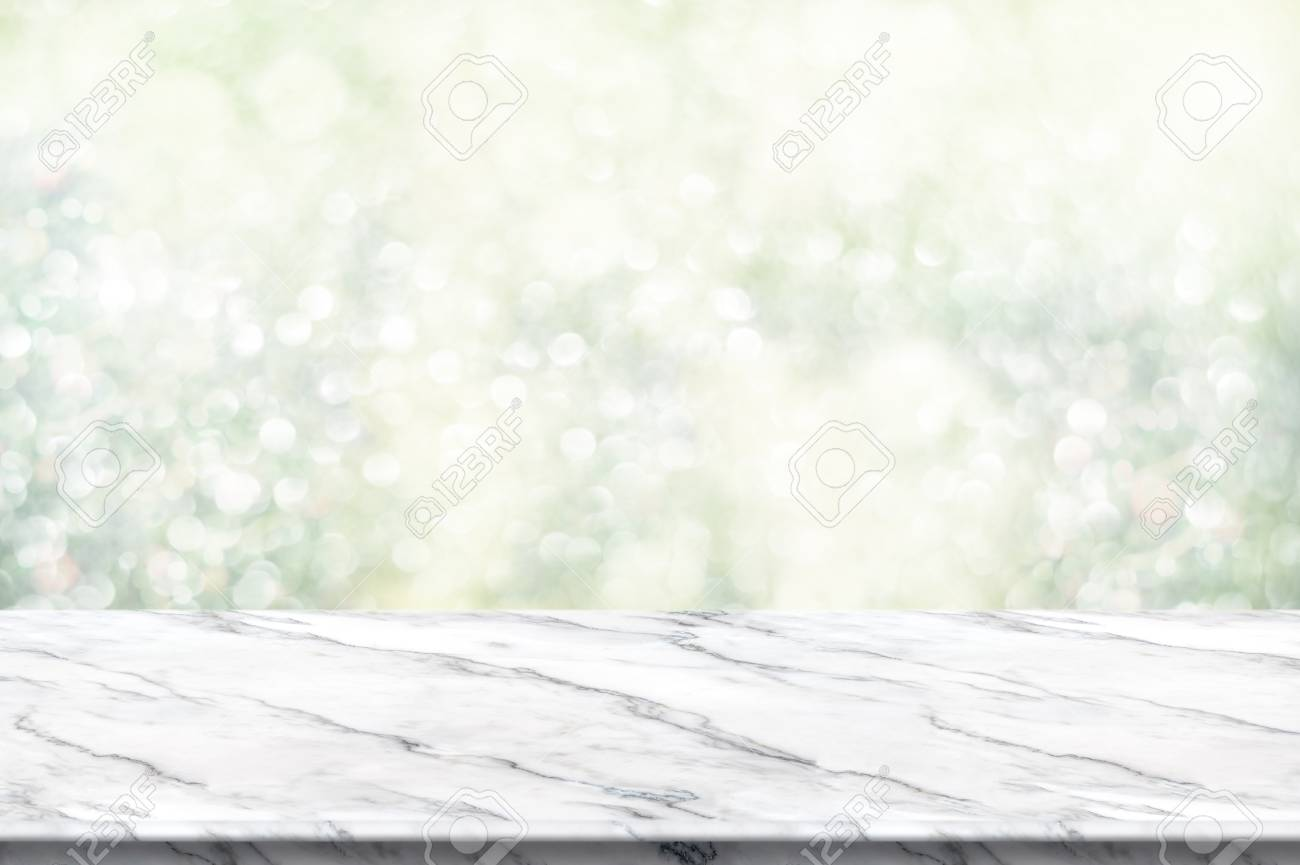 white marble table top. Beautiful Table Empty White Marble Table Top With Abstract Green Blur Christmas Tree  Background Bokeh Light On White Marble Table Top T