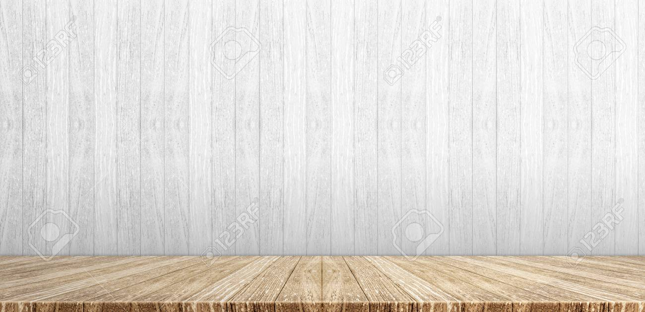 Stock Photo   Wood Plank Table Top At White Painted Wooden Wall  Background,Mock Up For Display Or Montage Of Product,Banner Or Header For  Advertise On ...