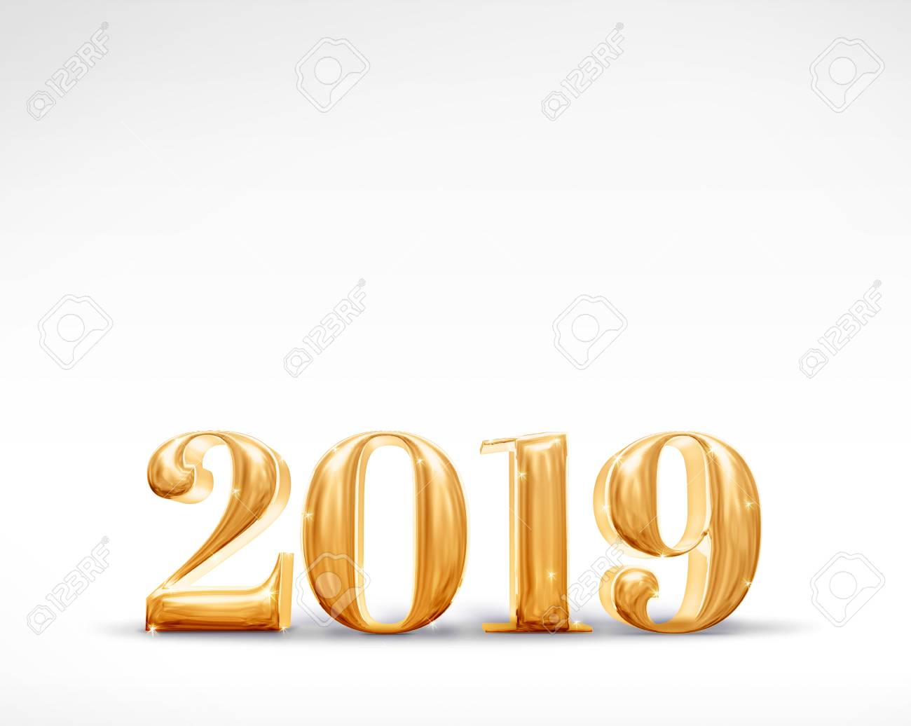 2019 happy new year golden number 3d rendering on white studio roomholiday