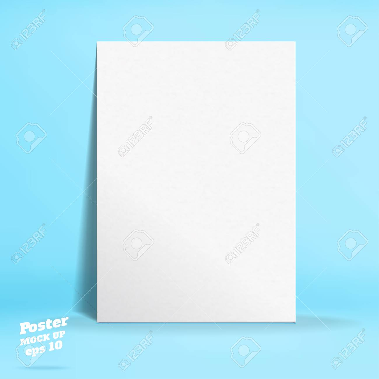 vector of white paper poster in pastel colorful blue studio room