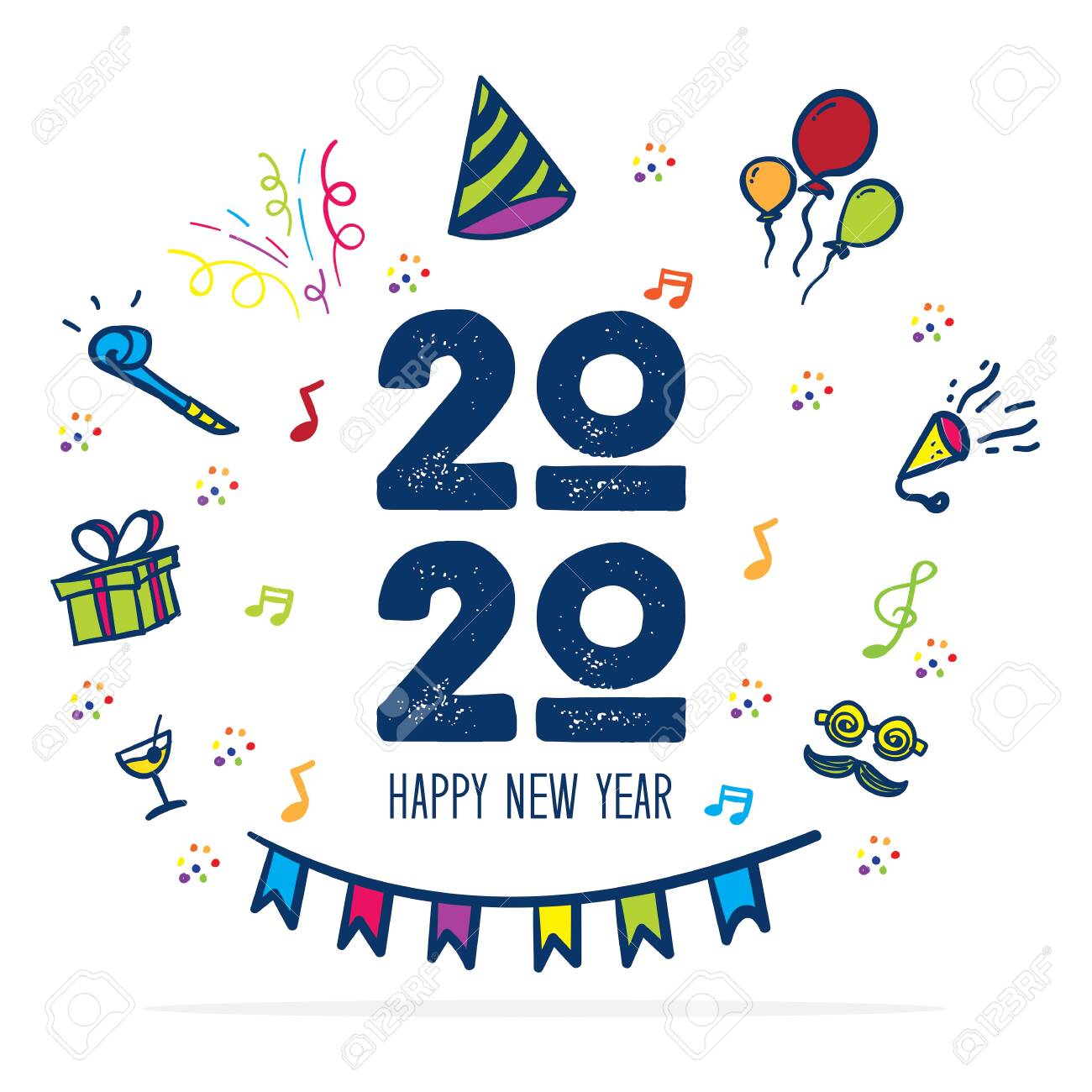 Funny Happy New Year 2020.Happy New Year 2020 Logo With Party Icon Doodle Hand Drawing