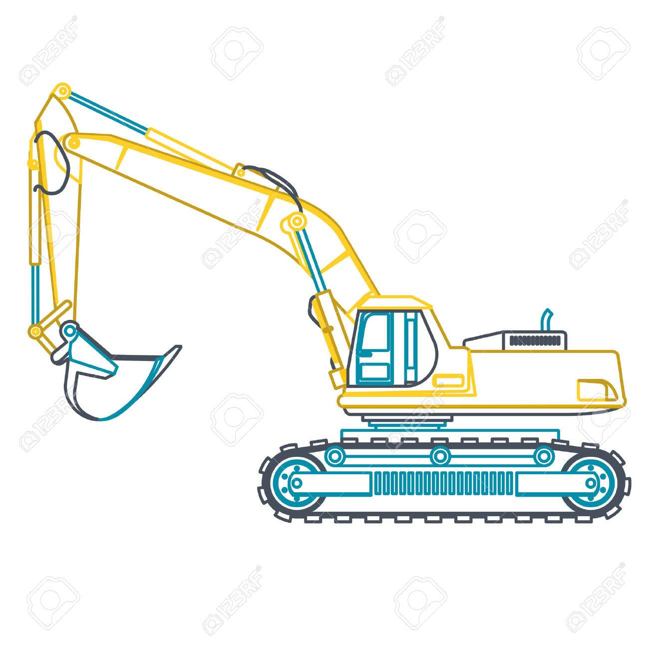 Blue Outline Big Yellow Digger Builds Roads On White Digging Of Ground Heavy Machinery