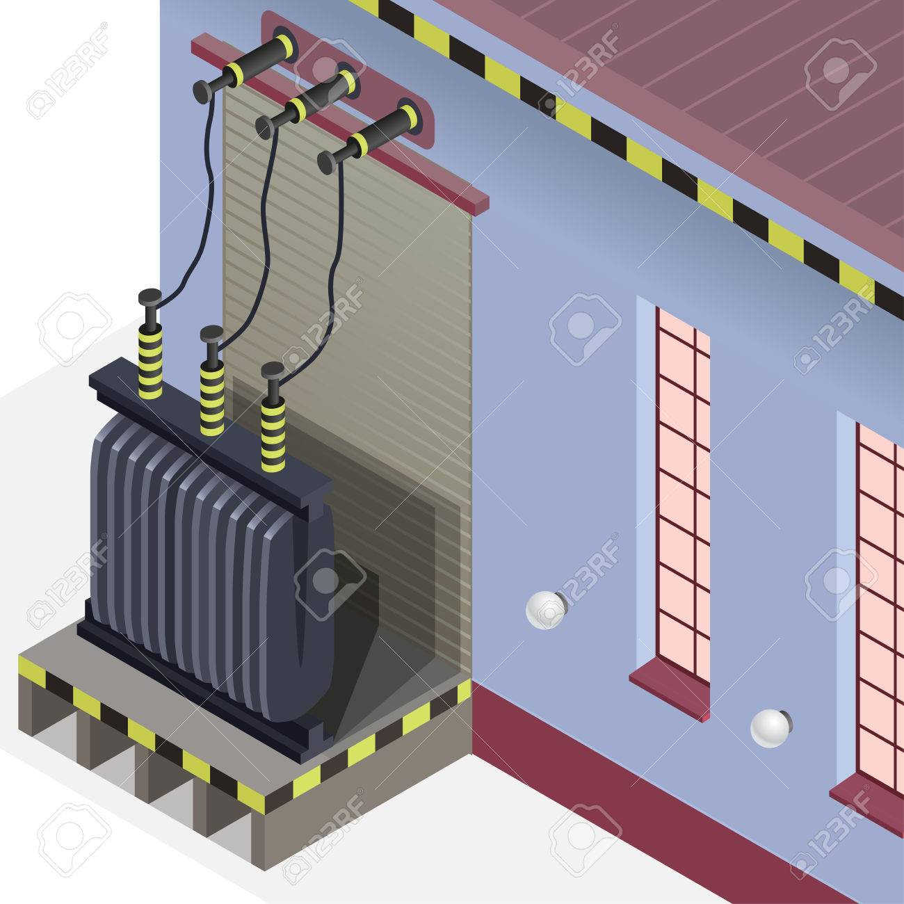 Electric Transformer Isometric Building Info Graphic High Voltage Wiring Diagram Power Station Old Plant Architecture