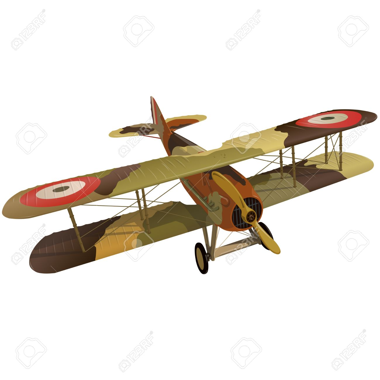 Biplane from World War with military camouflage  Model aircraft