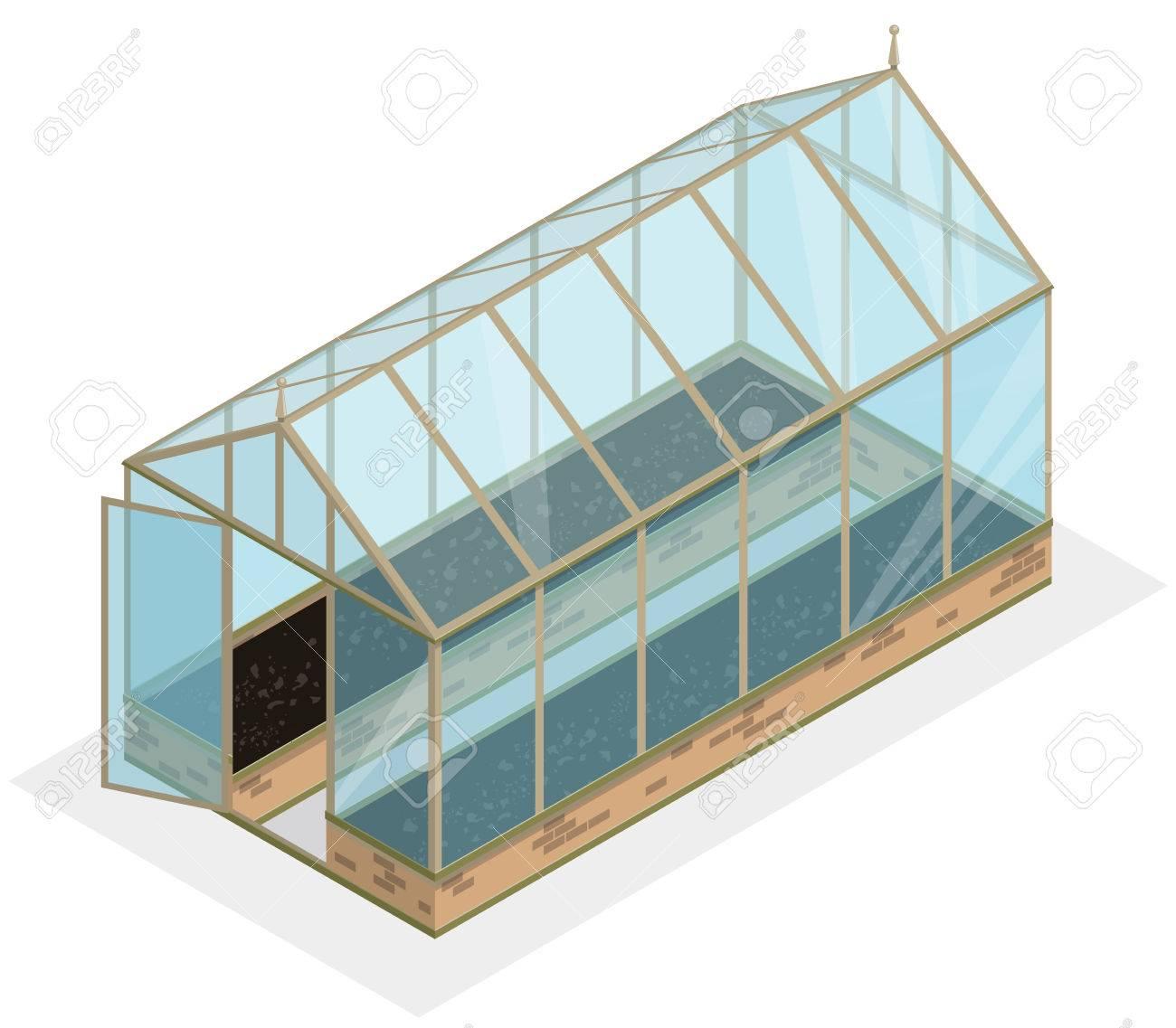 isometrischen gewächshaus mit glaswänden, fundamente, giebeldach und