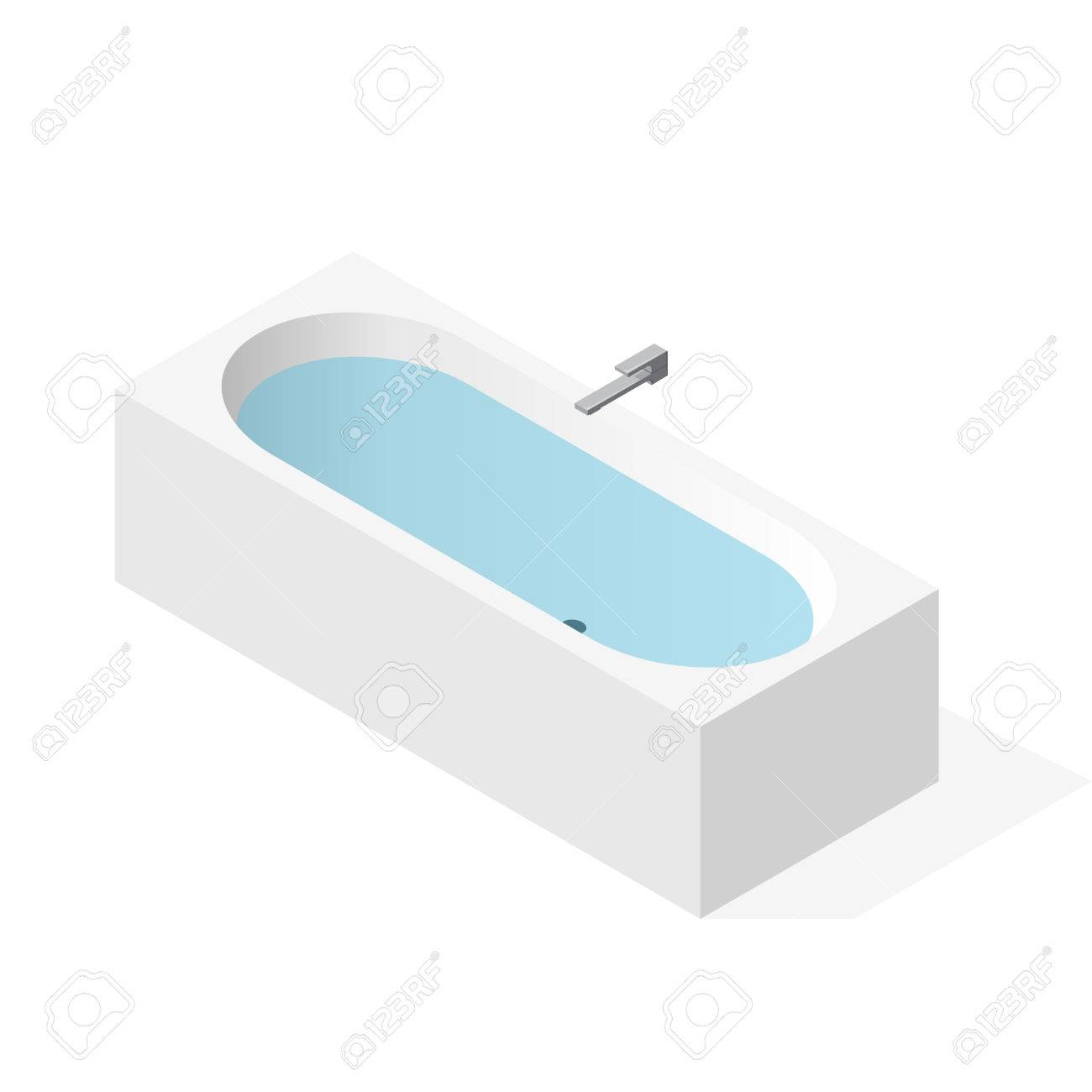 Modern Bathtub Filled With Water. Vector Bath Tub In Isometric ...