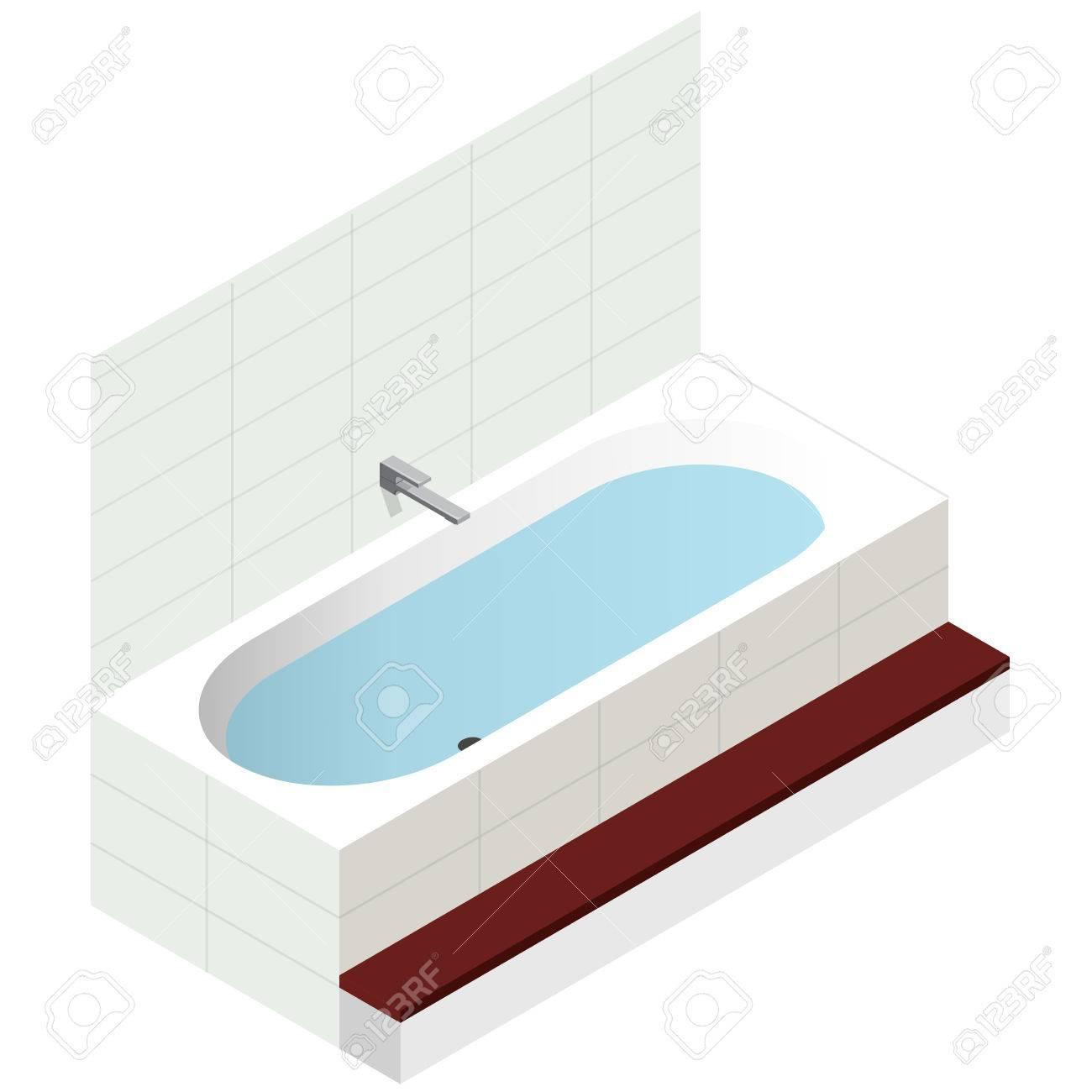 Vector Bath Tub In Isometric Perspective. Modern Bathtub Filled ...