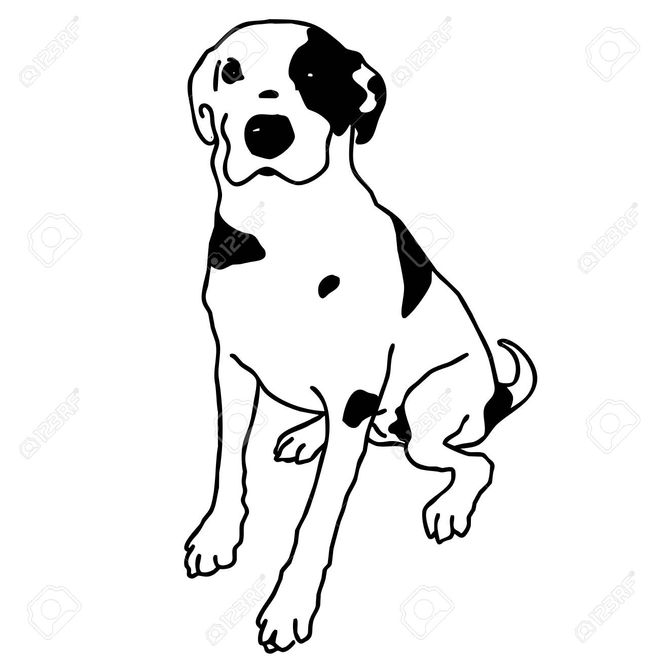 Vector vector black and white dog sitting smart and darling doggy mans best friend outlined cute dog crafty and sly doggie