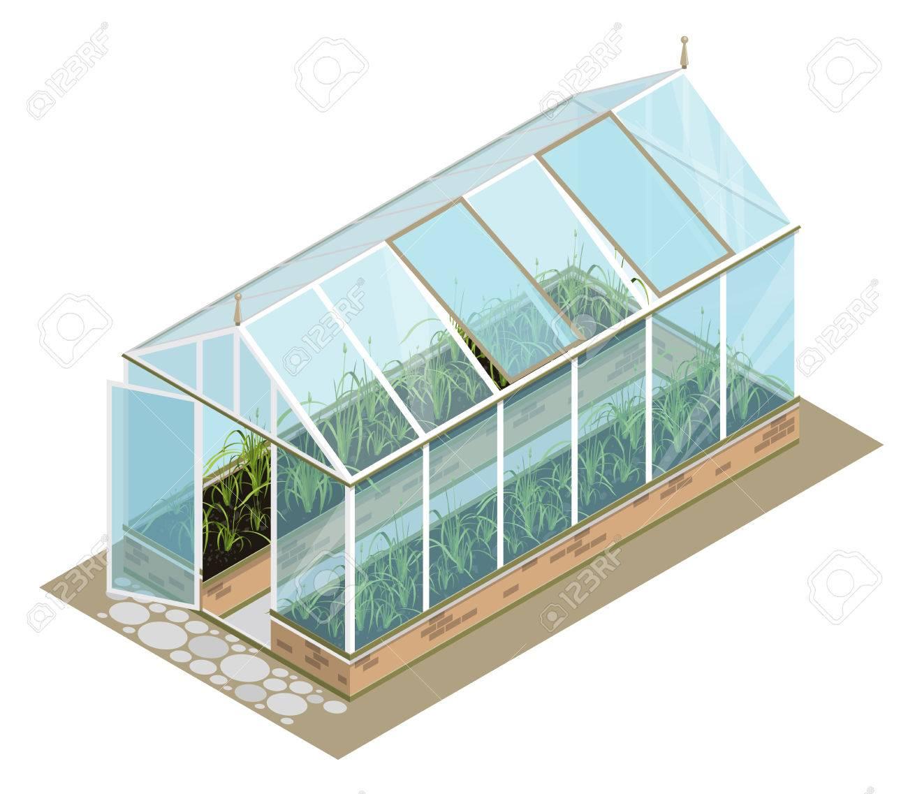 isometrische gewächshaus mit glaswänden, fundamente, giebeldach