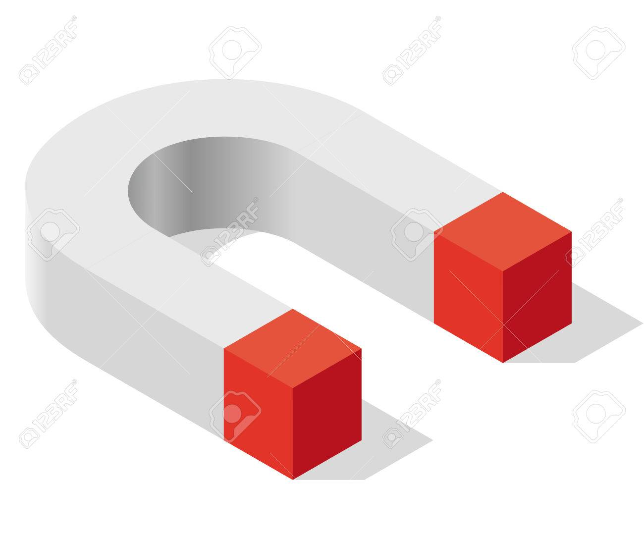 Magnet Symbol, Isometric Perspective. Pure Shadowed Shape In ...