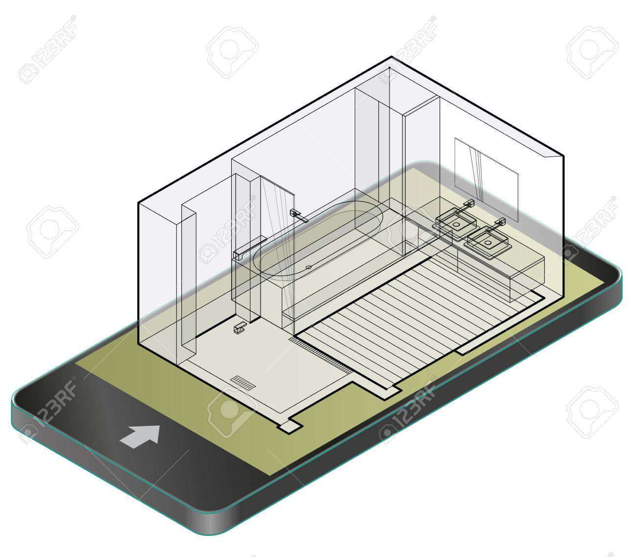 Outlined Bathroom With Wooden Floor In Mobile Phone. Wire Isometric ...