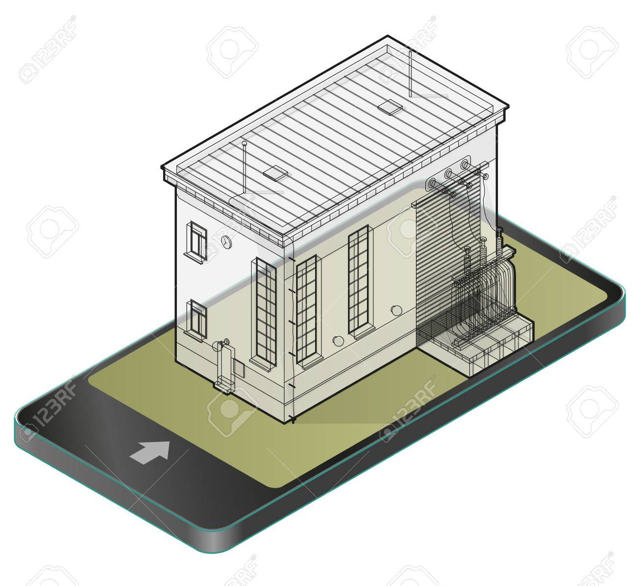 Isometric Plans Electrical Wiring Information Of Diagram House Planning Electric Transformer Building In Mobile Phone Outlined Rh 123rf Com Floor Plan Symbols