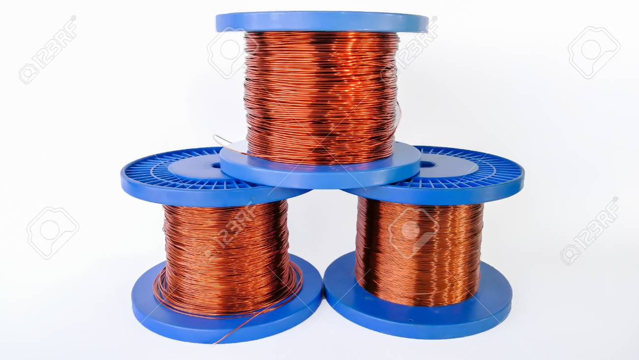 A Roll Of Copper Wire; Isolated On The White Background Stock Photo ...