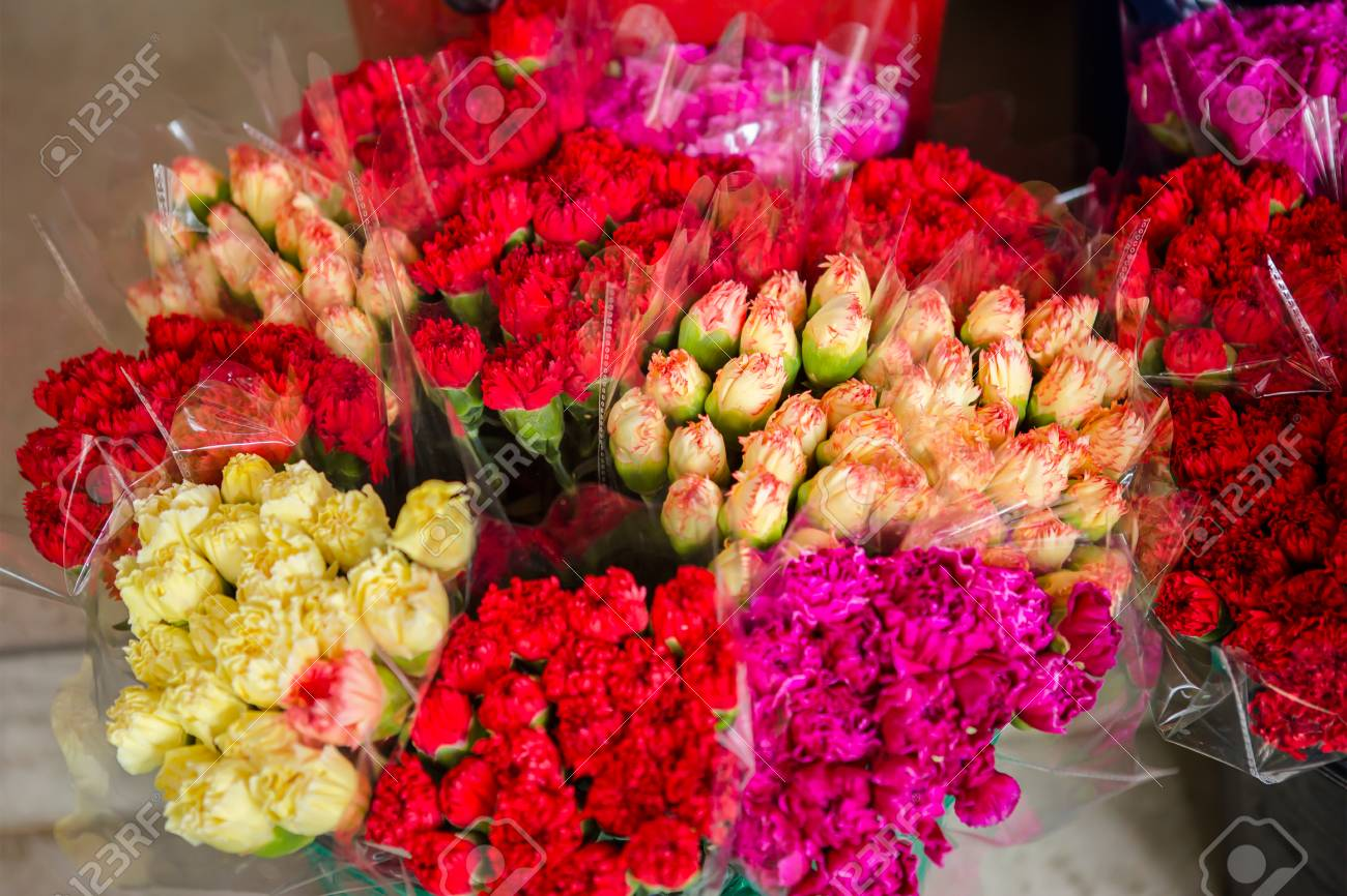 Beautiful multicolored flower bouquets various fresh tulips stock beautiful multicolored flower bouquets various fresh tulips at flower shop wholesale or retail flower izmirmasajfo