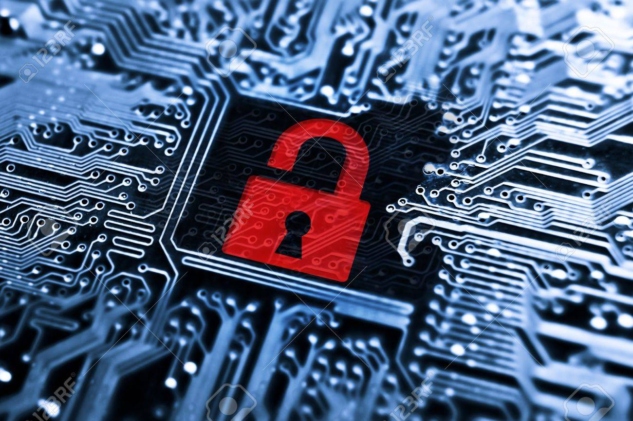 hacked symbol on computer circuit board with open red padlock stockhacked symbol on computer circuit board with open red padlock stock photo 29331075